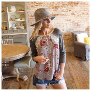 Gray Floral Lace Detail Top
